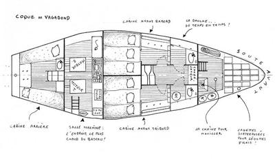 Cabins of Vagabond, drawing by G. Caroff