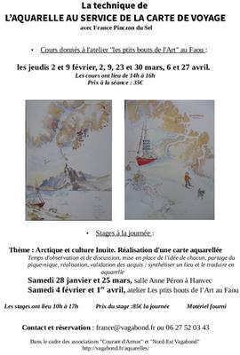Cours et stages aquarelles Hanvec et Faou 2017