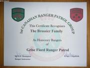 Famille Brossier nommee Rangers canadiens honoraires