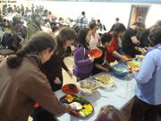 Banquet vendredi de Paques prepare par eleves cours de cuisine