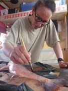 Peindre poisson avant de faire empreinte