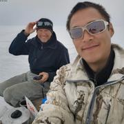 Eric et Terry devant glacier Jakeman ©Terry Noah