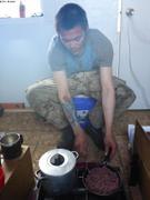 Terry prepare poelee de boeuf musque hache ©EB