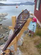 Aurore devant structure kayak a Oqaitsut