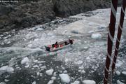 Pecheur a fond dans les glacons