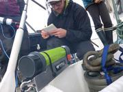 Andrew verifie largueur acoustique mouillage baie Talbot