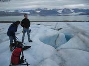 Sur le glacier au dessus de la base Corbel