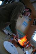 Tonio flambe chourico de carne avec cachaca