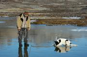 Wojtek et Lomou sur lac gele