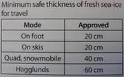 Epaisseur minimum de glace pour se deplacer